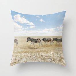 Zebra on African Savannah Throw Pillow
