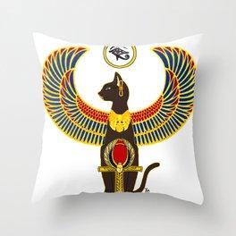 Winged Bast w/Ankh Throw Pillow
