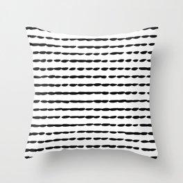 Black Ink Brush Dash Lines Throw Pillow