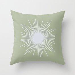 Midcentury Modern Minimalist Sunburst 4 in Light Silver Gray and Sage Green Throw Pillow