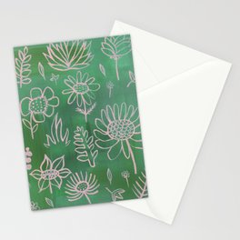 Pink Nature on Green Stationery Cards