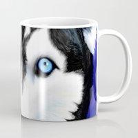 husky Mugs featuring Happy Husky by MrsKristenArtworks