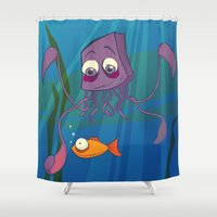 carl sagan Shower Curtains featuring Carl by Dimind