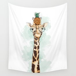 Intelectual Giraffe with a pineapple on head Wall Tapestry