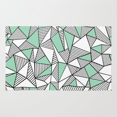 Abstraction Lines with Mint Blocks Rug