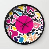 sticker Wall Clocks featuring Sticker Frenzy by XOOXOO