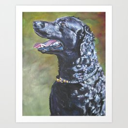 A Curly-Coated Retriever dog portrait from an original painting by L.A.Shepard Art Print