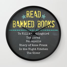 Read Banned Books with Book List Wall Clock