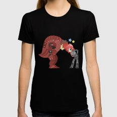 Mass Effect - Wrex and Shepard LARGE Black Womens Fitted Tee
