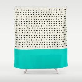 Aqua x Dots Shower Curtain