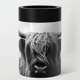 Scottish Highland Cattle Black and White Animal Can Cooler