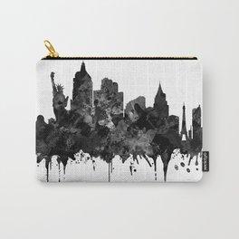 Las Vegas Skyline Black And White Art USA Cityscape Art Black Las Vegas Skyline Carry-All Pouch