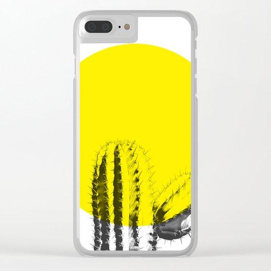 Sunset Minimal Cactus Clear iPhone Case