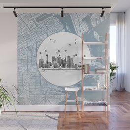 Sydney, New South Wales, Australia City Skyline Illustration Drawing Wall Mural