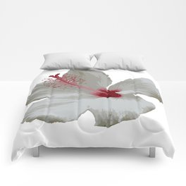 Pure White Hibiscus Tropical Flower Comforters