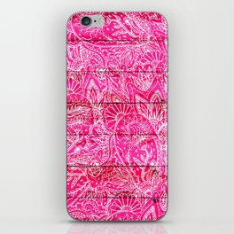 Girly hand drawn floral paisley neon pink wood iPhone Skin