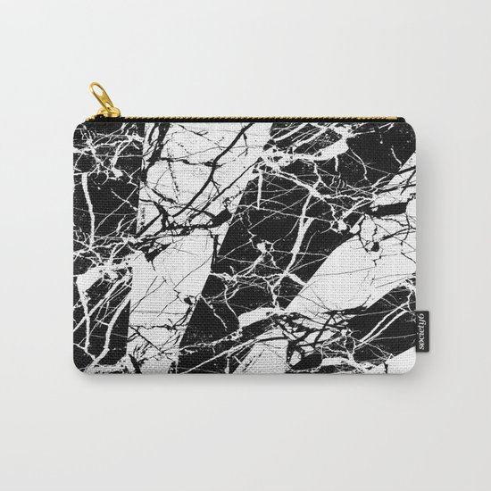 Rays Of Marble - Black and White, marble textured, abstract art Carry-All Pouch