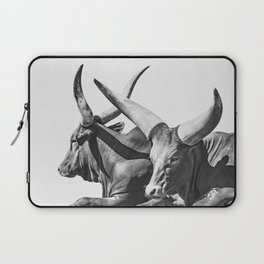 Animal Photography | Ankole-Watusi | Cattle | Bull | Steer | Black and White Laptop Sleeve