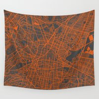 mexico Wall Tapestries featuring Mexico Map by Map Map Maps