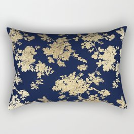 Elegant vintage navy blue faux gold flowers Rectangular Pillow