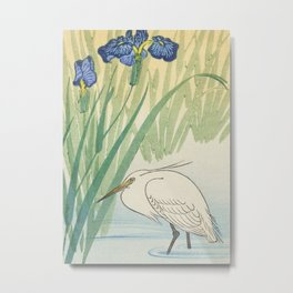 Egret and blue swamp flowers - Vintage Japanese Woodblock Print Metal Print