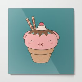 Kawaii Cute Pig Ice Cream Cone Metal Print