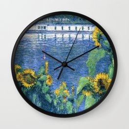 Sunflowers on the Banks of the Seine by Gustave Caillebotte Wall Clock