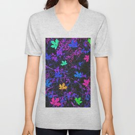 colorful maple leaf with purple and blue creepers plants background Unisex V-Neck