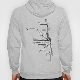 Chicago CTA Map, Chicago Map Art, CTA Art, Chicago Wall Art, Chicago Art, L Train, Art Print Hoody
