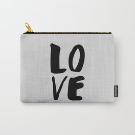 Monochrome LOVE black-white hand lettered ink typography poster design home decor wall art Carry-All Pouch