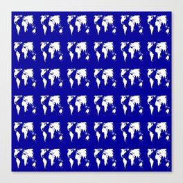 World map 3 blue Canvas Print