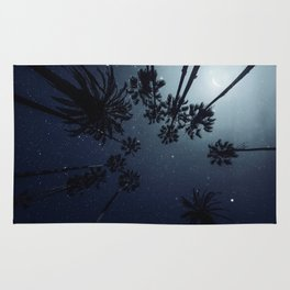 Palm Trees, Night Sky, Stars, Moon Rug