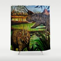 dinosaurs Shower Curtains featuring DINOSAURS by shannon's art space