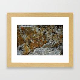 Cornish Headland Cracked Rock Texture with Lichen Framed Art Print