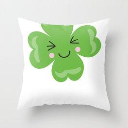 Kids St Patricks Day Kawaii Shamrock Smiling Shamrock Throw Pillow