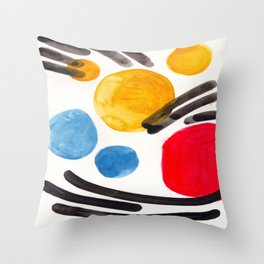 Mid Century Modern Abstract Juvenile childrens Fun Art Primary Colors Watercolor Minimalist Pop Art Throw Pillow