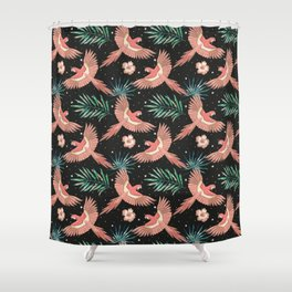 Pink macaw parrots on the starry night sky Shower Curtain