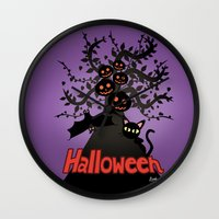 halloween Wall Clocks featuring Halloween by BATKEI
