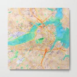 Boston watercolor map Downtown Metal Print