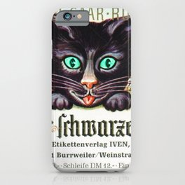 Vintage Zeller Schwarze Katz Black Cat Wine Bottle Label Print iPhone Case