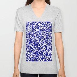 Small Spots - White and Dark Blue Unisex V-Neck