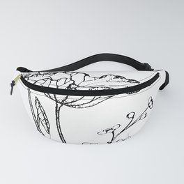 Chinese Ink Brush Painting Floral Chinoiserie Art Fanny Pack