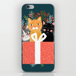 Cats cute christmas xmas tree holiday funny cat art cat lady gift unique pet gifts iPhone Skin
