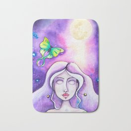 Moon Goddess - Watercolor Whimsical Girl with Luna Moth Bath Mat