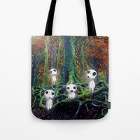 kodama Tote Bags featuring Kodama under the tree by pkarnold + The Cult Print Shop