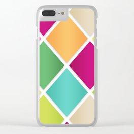 Modern Diamond Geometric Pattern Design // Pink Orange Green Blue Clear iPhone Case