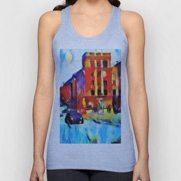 A police car rides in the winter in the evening city. Unisex Tank Top