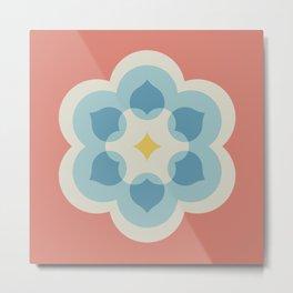 Modern Bloom in Coral and Blue Metal Print