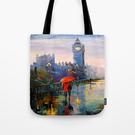 Rain in London Tote Bag