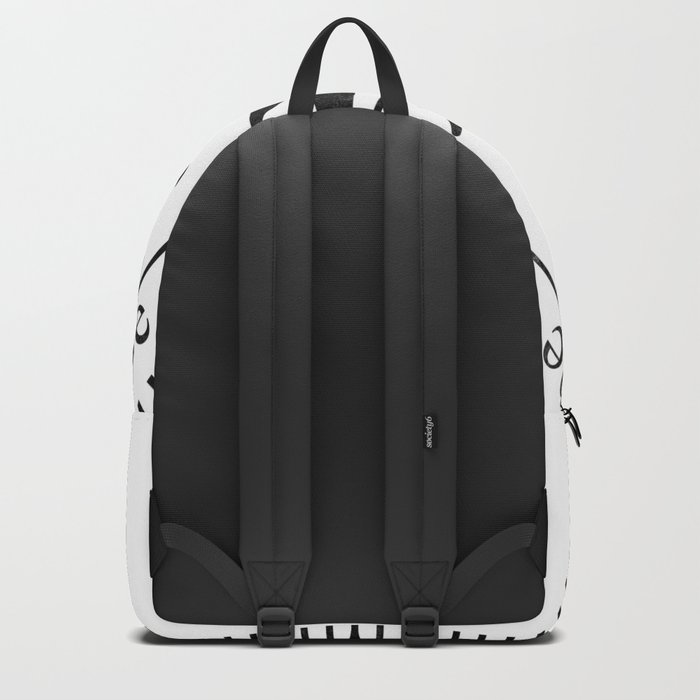 Black Compass on White Backpack